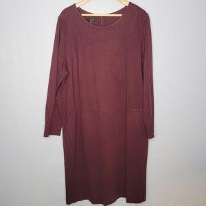 Talbots Long Sleeve Clay Long Sleeve Midi Dress